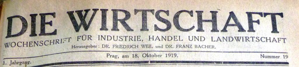 FOTO: Hlavička ekonomického týdeníku Die Wirtschaft z roku 1919