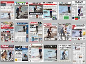 FOTO: Titulní strany světových deníků s fotografií utopeného malého uprchlíka tak, jak je poskládal server iDNES.cz (zdroj: koláž iDNES.cz).