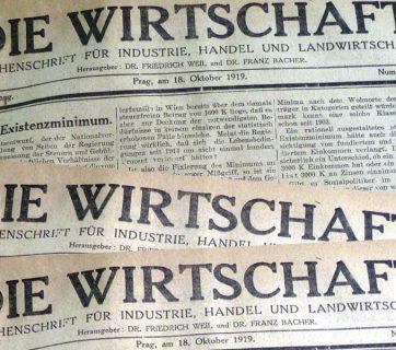 FOTO: Titulní strana ekonomického týdeníku Die Wirtschaft z roku 1919.